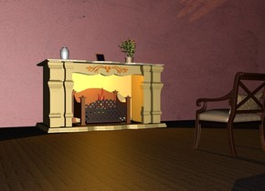 There is a fireplace. The first wall is behind the fireplace. The first wall is [wallpaper]. The first wall is dark red. The ambient light is black. The fire is 1.8 feet in the fireplace. There is a bright orange light in the fire. The ground is carpet. The ground is dark red. There is a tiny vase on the fireplace. The vase is -.9 feet to the left of the fireplace. There is a flower on the fireplace. The flower is -1.3 feet to the right of the fireplace. There is a tiny picture frame on the fireplace.  There is a small chair 3.8 feet in front of the fireplace. The chair is facing the fireplace. The chair is -1.9 feet to the right of the fireplace. It is evening. The ground is unreflective.