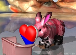 A red small couch.  A giant pink [putin] bunny is facing the couch.  The couch is facing the bunny.  The ground is [putin].  A [flag] heart is on the left of the bunny. The heart is facing the couch.