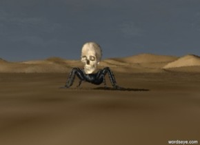 the tiny skull is on the giant spider in the desert with a dark sky