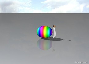 rainbow egg with an extremely tiny sword