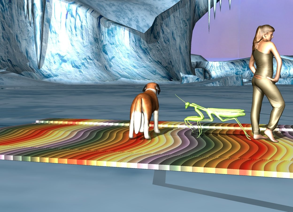 Input text: The dog is on the rainbow brick road. Dog is facing east. The very huge insect is 0.3 meters south of dog. The girl is 1.5 meters south of dog. Girl is facing south. Insect is facing north.