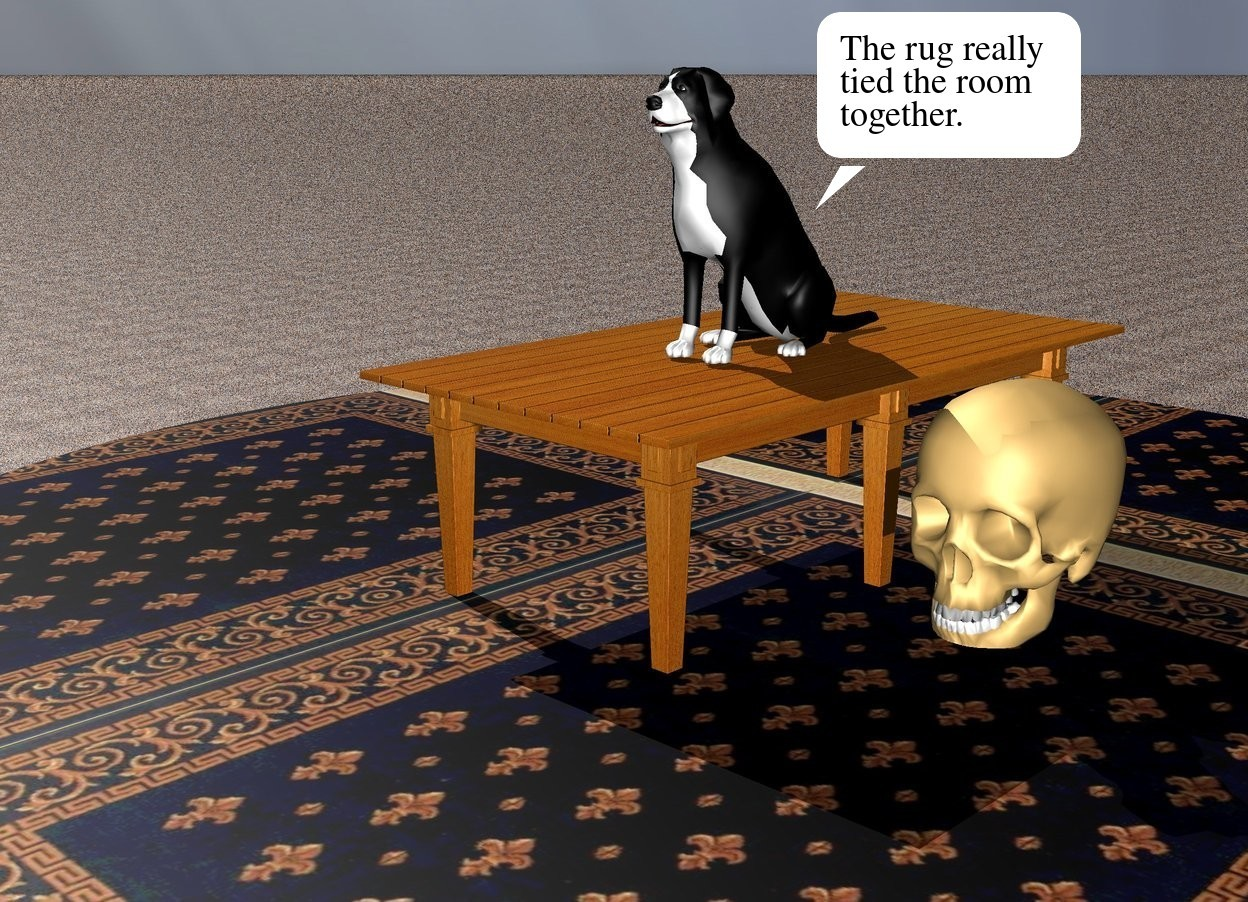 Input text: The black dog is on the kitchen table. The ground is sandy. There is a large rug under the table. There is a large bone to the right of the table.