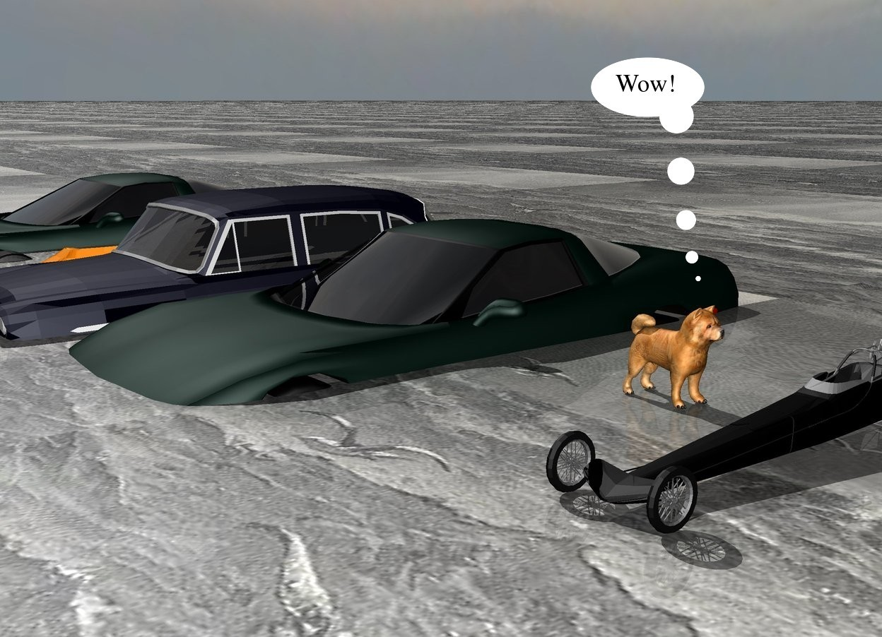 Input text: The [water] texture is on the ground. the texture is 30 feet tall.  four cars in the ground.  the dog is 3 feet to the right of the cars. it is on the ground. it is facing right. another car is 1 foot to the right of the dog.