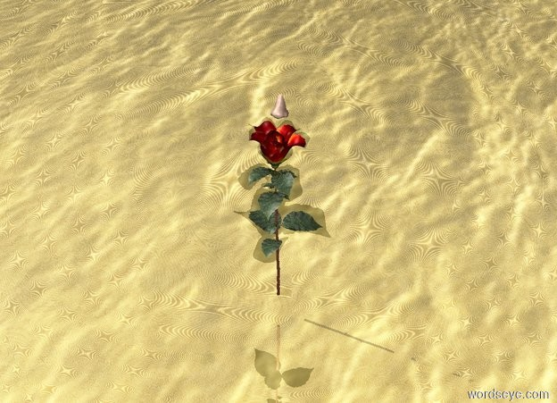 Input text: A giant rose is 3 inches above the gold water. The sky is metal. A big nose is 3 inches above the rose