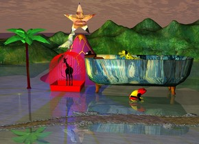 the entire red gigantic cage.  the black giraffe fits in the cage.  it is sunset.  the blue light is above the giraffe.  the gigantic van gogh bathtub is 3 feet to the right of the cage.  the bathtub is facing right.  the yellow dog fits in the bathtub.  the gigantic german frog in front of the bathtub.  the frog faces right.  the orange river is in front of the frog.  the green light is below the bathtub.  the solid pink plum volcano is behind the cage.  the gigantic [putin] star is above the volcano.  the large lime green palm tree is to the left of the cage.  the yellow light in front of the palm tree.  the gigantic bird is above the cage.  the bird is facing right.  the dog is facing left.