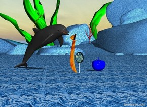 The dolphin is one foot to the right of a giant van gogh candy. It is facing left.   The ground is water.   The fire sword is behind and to the right of the candy.  A giant blue tomato is two feet in front of the candy.