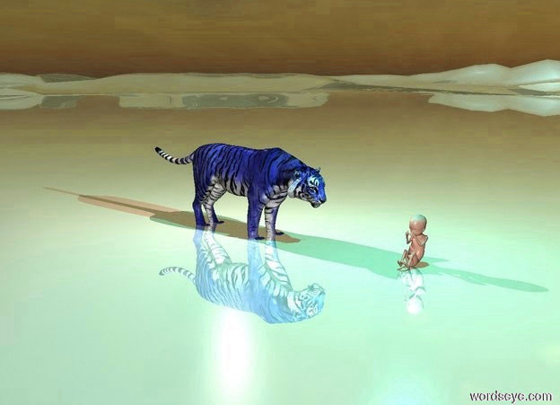 Input text: the ground is very shiny. the baby is on the ground. the cyan light is one foot above the baby. the little blue tiger is one foot to the left of the baby. it is one inch in the ground. it is facing the baby. the pink light is above the tiger. it is evening.