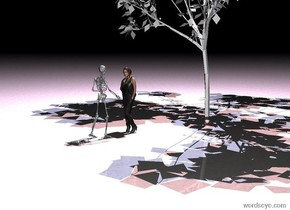 the woman. the white skeleton. it faces the woman. it is one foot in front of the woman. the woman faces it. it is winter. it is night.  the white tree is 5 inches behind the woman. the pale blue light is 5 foot above the tree. it is leaning 10 degrees to the left. the pink light is 5 foot above the tree. it is leaning 10 degrees to the right. the ground is black marble.