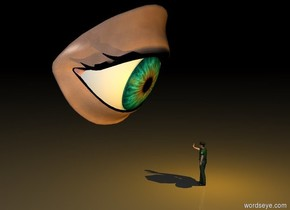 it is night. the little green police officer. the extremely gigantic eye is west of the police officer. it faces the police officer. it is one foot away from the police officer. it is three feet off the ground. it is leaning forward. the police officer faces the eye. the orange light is two feet east of the eye. it is leaning forward.
