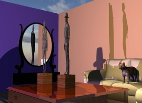 the first large [wood] block is on the huge shiny table. the [metal] man is 10 feet tall and 1 foot wide. he is 1 foot deep. he is on the block. the very large couch is 3 feet behind the table. the very large tan wall is behind the couch. a second very large mauve wall is to the left and in front of the wall. it is facing right. a large cat is on the couch. a second large [wood] block is 4.5 feet to the left of the first block. the [metal] woman is on the second block. she is 10 feet tall. she is 1 foot wide. she is one foot deep. she is facing left. the huge mirror is to the left of the second block. it is facing right. the ground is tile. the camera light is black. the mauve light is 30 feet in front of the second block. the tan light is above and 4 feet in front of the man.  it is 2 feet to the right of the man.