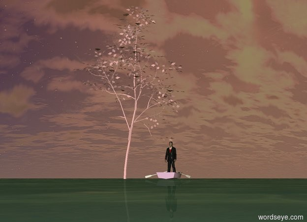 Input text: the pink tree. the ground is water.  a pale magenta boat is four foot east of the tree. a man is in the boat. it is sunset.