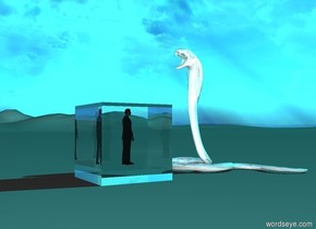the sun is pale light cyan. the ground is light grey. the tall clear shiny cube is on the ground.  the tiny businessman is 1.6 foot in the cube.  the shiny white snake is one foot away from the cube. it is facing the businessman. the businessman is facing away from the snake.