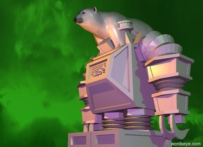 the ground is beige. it is sunrise. the sun is pale green. the huge lavender polar bear is eight foot in the first huge lavender robot. the yellow light is in front of the polar bear.