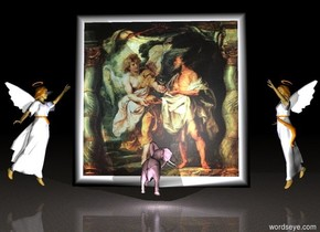 the ground is marble. it is night. the [daniel] gigantic painting is 2 feet above the ground. the pink elephant is in front of the painting. the elephant is facing the painting. the elephant is facing the painting. the pale blue light is in front of the elephant. the first huge angel is west of the painting. it is facing the elephant. the second huge angel is east of the painting. it is facing the elephant.