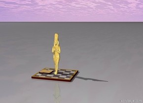 A marble statue and giant bread flying over the giant chessboard.  Angel in the sky