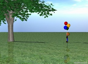 A boy is facing a green tree. ground is grass.