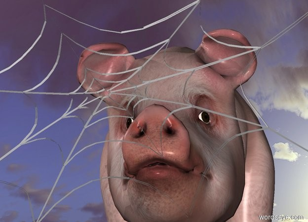 Input text: a spider web. a small pig is behind the web.
