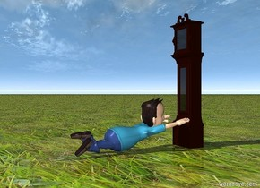 a clock is facing a man. the man is facing the clock. the ground is grass