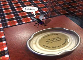 the [snapplecap] cube. the ground is plaid. the large fly is on the cube. it is -2.2 inches behind the cube. the very large glass is behind and to the right of the cube.