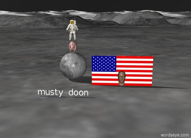 """Input text: a small pig on top of a big moon. a tiny astronaut on top of the pig. american flag in the pigs head. black sky. tiny """"musty doon""""  3 feet in front of the moon"""
