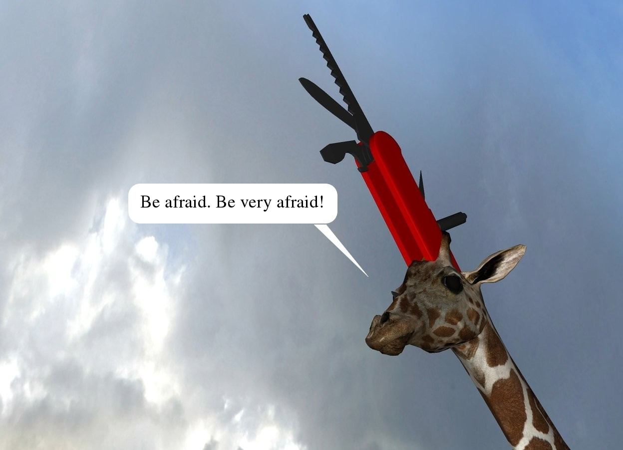 Input text: the giraffe. the very enormous knife is -4 feet above the giraffe. it is -4.9 feet in front of the giraffe. it is face up. it is leaning 37 degrees to the front.