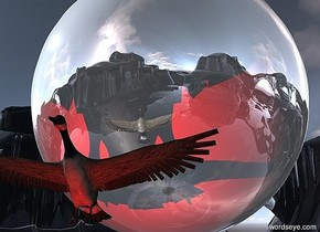a goose. 10 feet behind the goose is a reflective sphere. the sphere is 110 feet tall.the goose is 20 feet tall.the goose is 20 feet above the ground.the camera light is black.the ground is transparent. below the goose is a red light.