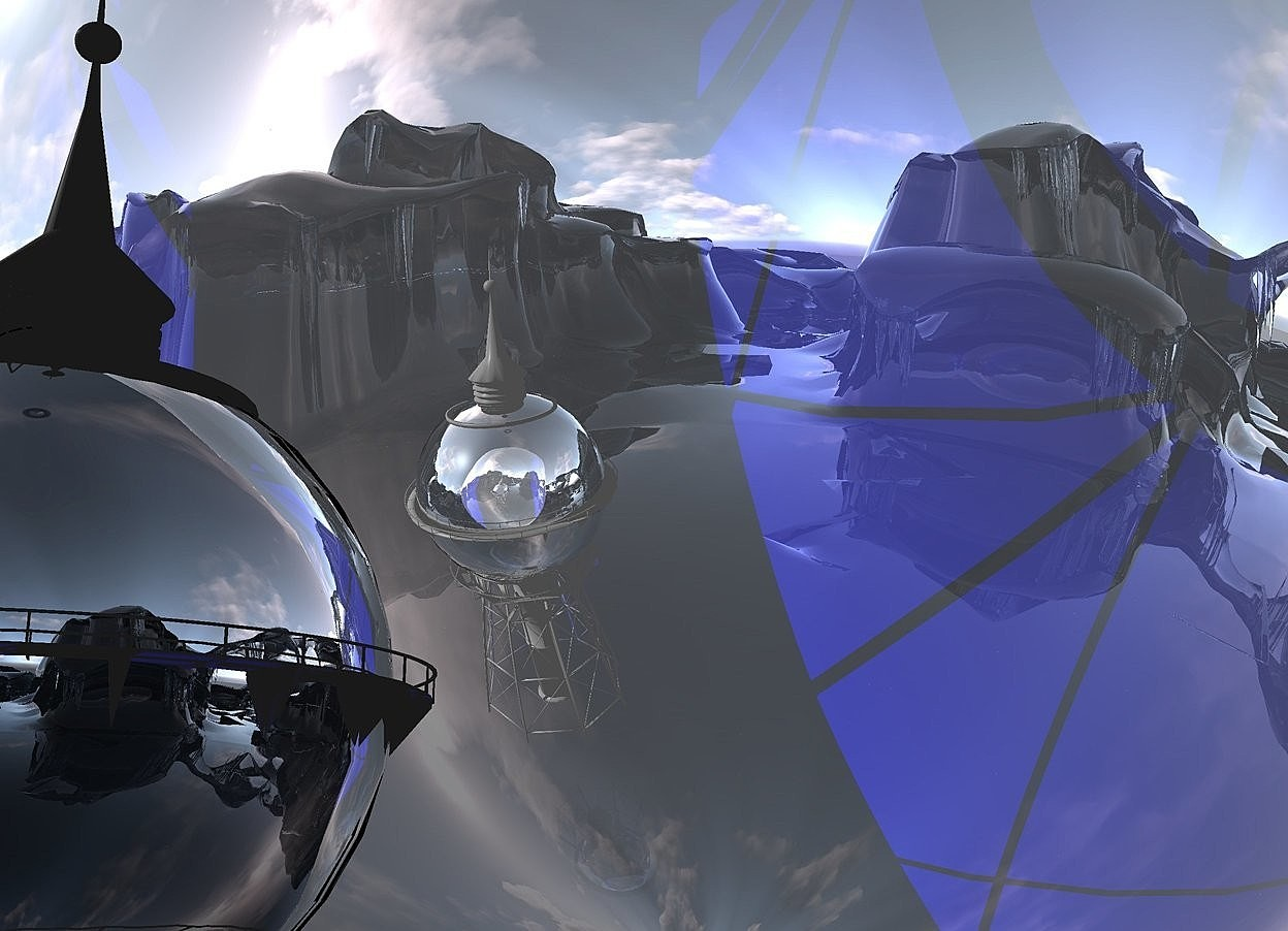 Input text: a silver water tower. 10 feet behind the water tower is a reflective sphere. the sphere is 115 feet tall.the water tower is 50 feet tall.the water tower is 20 feet above the ground.the camera light is black.the ground is transparent. below the water tower is a small 60% dim  blue light.