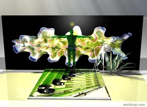 The translucent very shiny green man is several inches in front of the big flowery octopus. The man is 10 inch in front of the wall .The wall is image-9841. the wall is facing right. Octopus is facing the man. octopus is  behind the man. A huge white light is two feet above the man. man is facing right.  There is a big aloe plant 3 inch behind the man. The big green leaf is shiny, The big green leaf is facing left .and one inch above the man.the man is on an big carpet.The carpet is [algua]. The yellow light is above the man