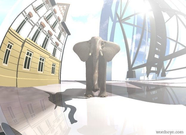 Input text: the 90 foot tall reflective sphere. it is noon. the [checkerboard] ground. the sun is gold. the gigantic elephant is 40 foot north of the sphere. the camera light is black. the gigantic building is 210 foot west of the elephant. the gigantic house is 210 foot east of the elephant.