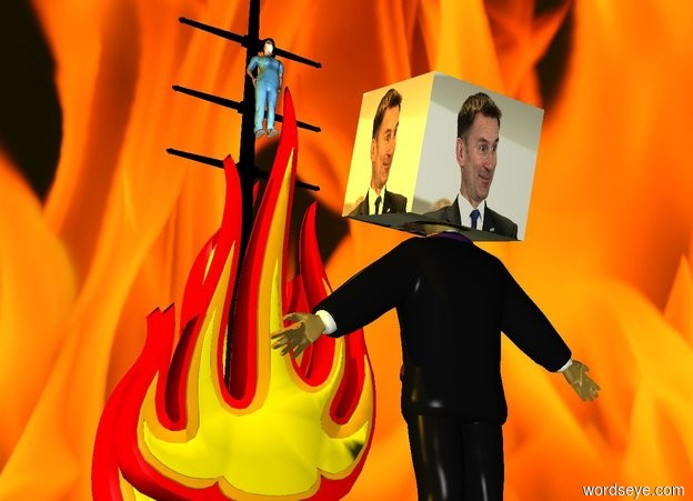 Input text: the nurse is 3 foot in the gigantic fire. the black pole is 0.5 foot behind the nurse. it is sunset. a gigantic flame is behind the pole. the big man is 15 foot in front of the fire. the man is facing the nurse. the huge [jeremy] cube is 2.3 foot in the man. the cube is leaning 20 degrees to the back. the sun is orange. the cube is facing the nurse. the [flames] sky. the [flames] ground. the white light is in front of the nurse.