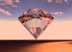 the gigantic clear diamond. it is noon. the floor under the diamond is [spiral]. the red light is above the diamond. the sun is peach.