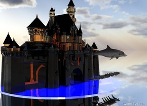 A transparent glass palace is above a blue lake. The lake is reflective.  A giant dolphin is 20 feet above the lake. The dolphin is 10 feet in front of the palace. The ground is  silver. It is noon. 12 dolphins are 10 feet below the giant dolphin and 20 feet in front of the palace.