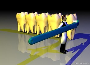 a tooth.a small toothbrush is -0.2 inches right of the tooth.the toothbrush is face up.the toothbrush is leaning 90 degrees to the right.the toothbrush is -0.5 inches in front of the tooth.a 0.1 feet tall man is -0.4 inches left of the toothbrush.the toothbrush is 0.7 inches above the ground.the man is on the ground.the man is facing right.a second tooth is left of the tooth.a third tooth is left of the second tooth.a fourth tooth is left of the third tooth.a fifth tooth is left of the fourth tooth.a yellow light is in front of the third tooth.the sun's altitude is 90 degrees.it is night.a blue light is right of the tooth.