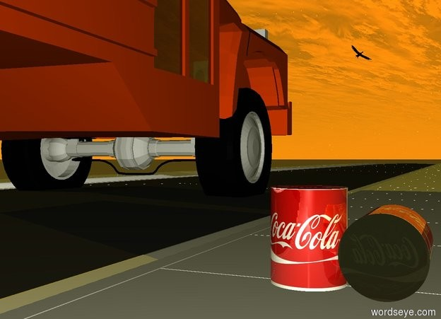 Input text: the 1st red shiny [cola] cylinder is 0.5 foot tall and 0.4 foot wide. the 1st cylinder is -1 foot west of the 1st street. the 1st cylinder is above the 1st street. the sun is marmalade. the 2nd red shiny [cola] cylinder is 0.5 foot tall and 0.4 foot wide. the 2nd cylinder is next to the 1st cylinder. the 2nd cylinder is facing down. the 2nd cylinder's top is dull grey. the 2nd cylinder's bottom is dull grey.  it is sunrise. the 2nd street is south of the 1st street. the 3rd street is south of the 2nd street. the 4th street is south of the 3rd street. the 5th street is south of the 4th street. the small orange red bus is -4 inches above the 2nd street. the bus is 4 inches north of the 2nd street. the black bird is 8 foot above the 3rd street. the bird is leaning 40 inches to the right.