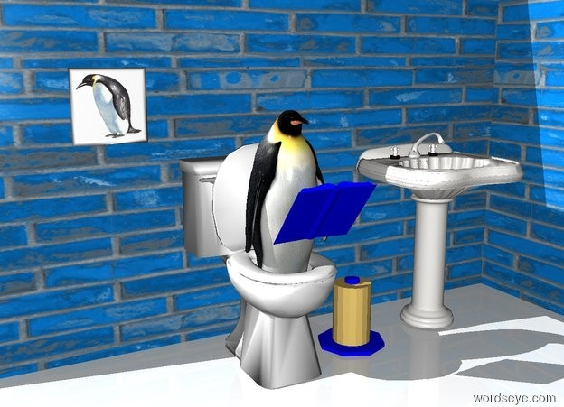 Input text: the penguin fits in the toilet. the 1st small pond blue [tiled] wall is behind the toilet.   the 3rd small pond blue [tiled] wall is east of the 1st wall. the 3rd wall is facing west. the 4th pond blue small [tiled] wall is on the 1st wall.  the 5th pond blue small [tiled] wall is 1 inch in the 3rd wall. the 5th wall is facing west. the ground is white.  the book is blue. the book is in front of the penguin. the book is 2 feet above the ground. the book is facing the penguin. the book is leaning 40 degrees to the back. the sink is 1 foot east of the toilet.  the roll is east of the toilet.   the photo is in front of the 1st wall. the photo is 3 feet above the ground. the photo is 0.4 foot west of the toilet.
