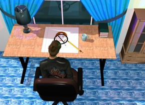 The small floor is [paper1]. a extremely huge pencil is -2 inches above the floor. the pencil is facing down. the pencil is facing southeast. the pencil is -55 inches to the front. the pencil is -40 inches to the right. a extremely big flat head above the floor. the head is facing up. the head is white. a big flat black not sign symbol above the head. the sign is facing up. the floor is above the extremely big [wood] table. a huge clear lamp above the table. the lamp is -80 inches to the left. the lamp is -140 inches to the front. a huge [poly3] cup 10 inches to the right of the floor. the cup is facing west. a 1st huge book 230 inches to the right of the lamp. the book is facing up. a 2nd red huge book above the 1st book. the book is facing up. a 3rd huge dark blue book above the 2nd book. the 3rd book is facing up. a 21 feet tall chair -3 feet in front of the table. the chair is facing the table. a 28 feet tall woman -22 feet above the chair. the woman is facing the table. a very large wall 2 feet behind the table. a extremely big window in front of the wall. a extremely big curtain in front of the window. a extremely big [wood] wardrobe to the right of the curtain. the ground is white [glass]. A dark red light on the woman. a orange light on the wall. a green light on the wardrobe. a navy light on the lamp. a navy light on the book. a red light on the chair. the camera light is on the front of the lamp. the curtain is dull.
