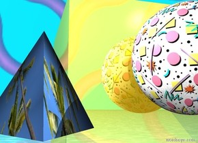 the gold very large cube is 2 feet above the water ground.  the [texture4]  big sphere is in front of the cube. It is 3.5 feet above the ground. the [textured effect] tetrahedron is .5 foot to the left of the  sphere. It is 3.25 feet above the ground. The white light is above the tetrahedron. the Bright white light is above the sphere. The sky is  [image-9871].