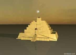 the ziggurat is several feet under the star. it is dawn.  the star is very very big.