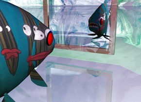 there is a [image-9114] fish. a small shiny mirror is 5 inches in front of the fish. the sun is purple. the ground is shiny and cyan. a light is 3 inches in front of the fish. the light source is green.