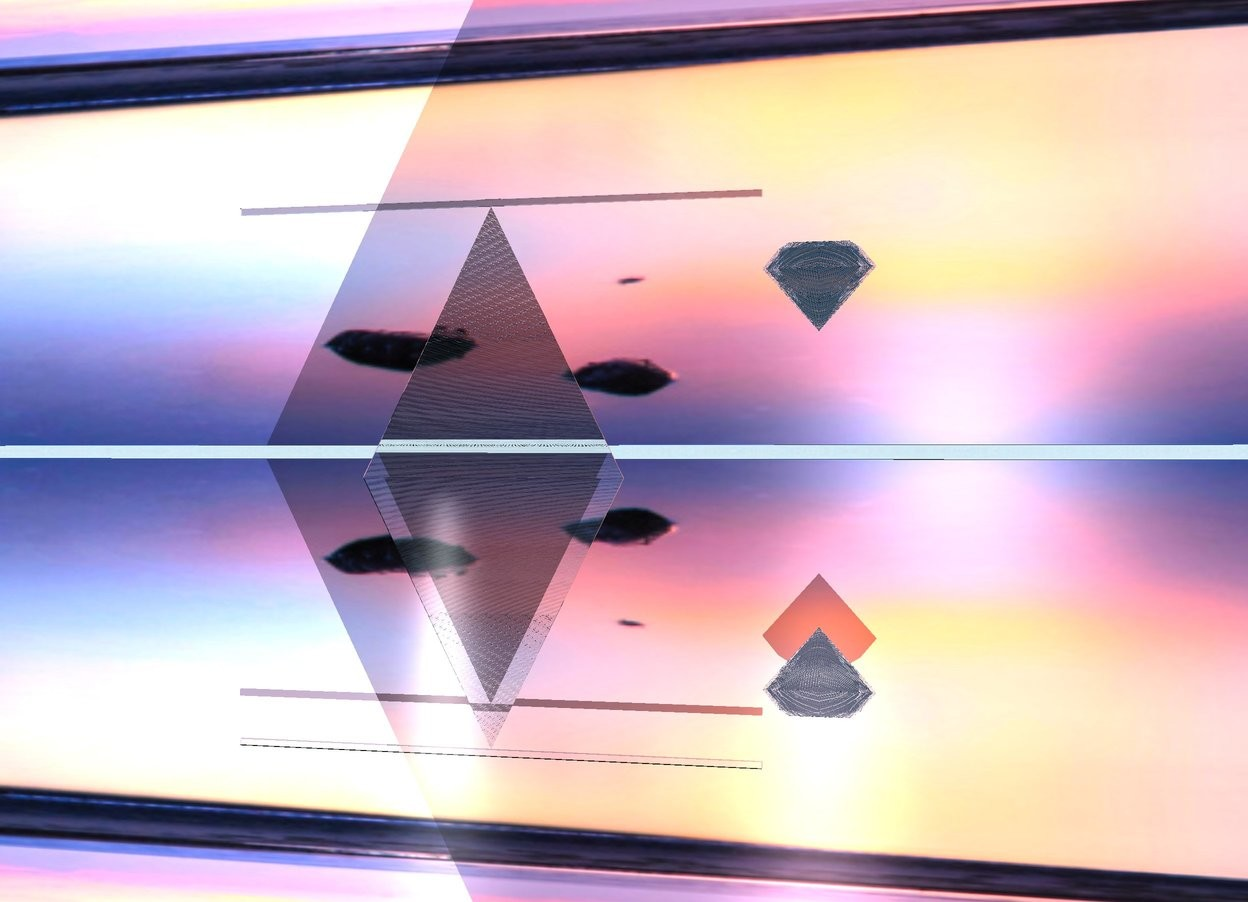Input text: A huge flat translucent diamond.  there is an enormous [landscape] wall 100 feet behind the diamond. the ground is silver. a flat translucent square is on the left and 5 centimeters above the diamond. the square is facing forward. a flat translucent pyramid is under the square. there is a white light in front of the pyramid. the light is facing the pyramid. A soft pink light is on the diamond.