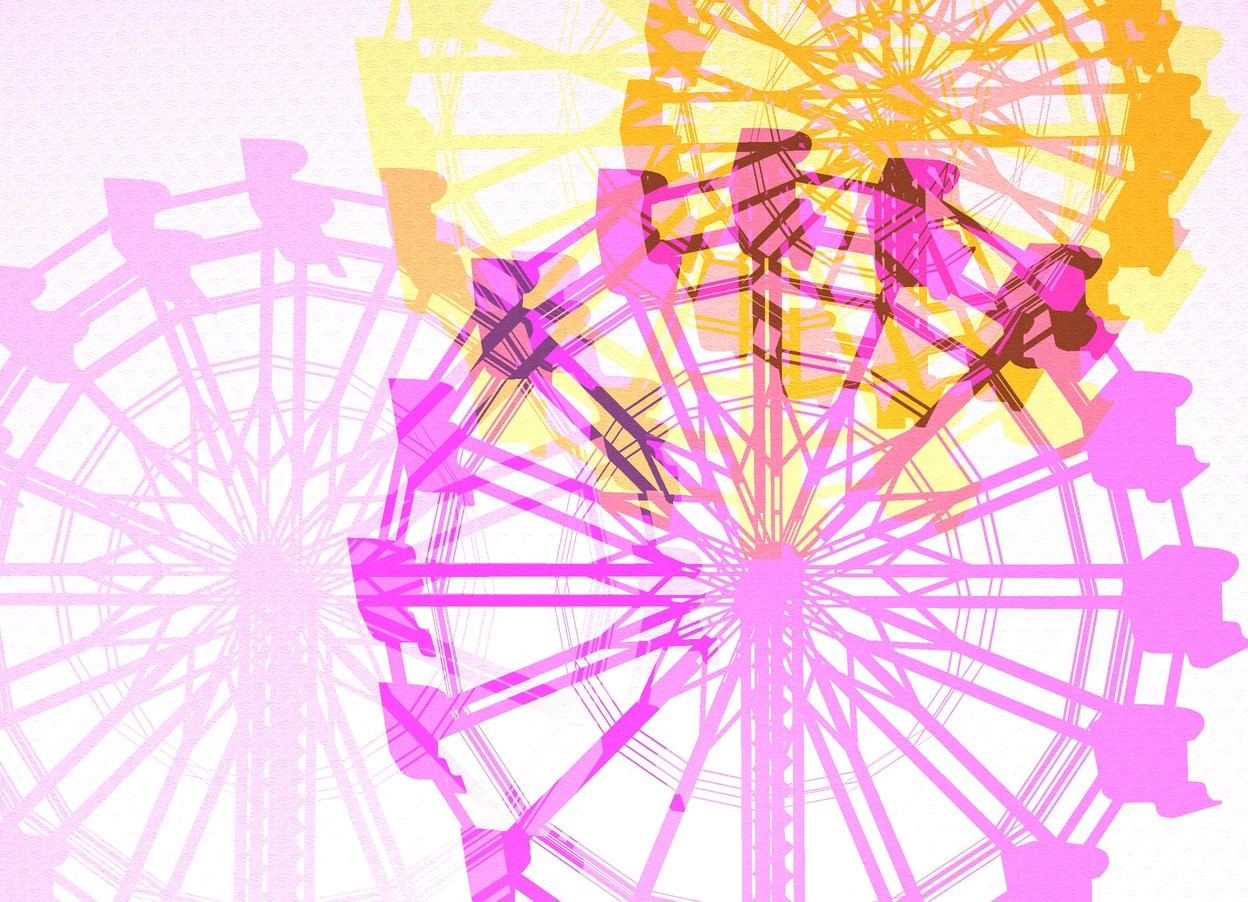 Input text: it is evening. the tiny ferris wheel. the 60 feet tall [texture] peach wall is 50 feet behind the ferris wheel. the wall is 70 feet wide. it is night. the copper light is 20 feet in front of the ferris wheel. the light is east of the ferris wheel. the marmalade light is 10 feet west of the light. the magenta light is 10 foot below the light. the orchid light is -20 foot east of the ferris wheel. the light is 40 foot in front of the ferris wheel. the light is -40 foot above the ferris wheel. the camera light is black.