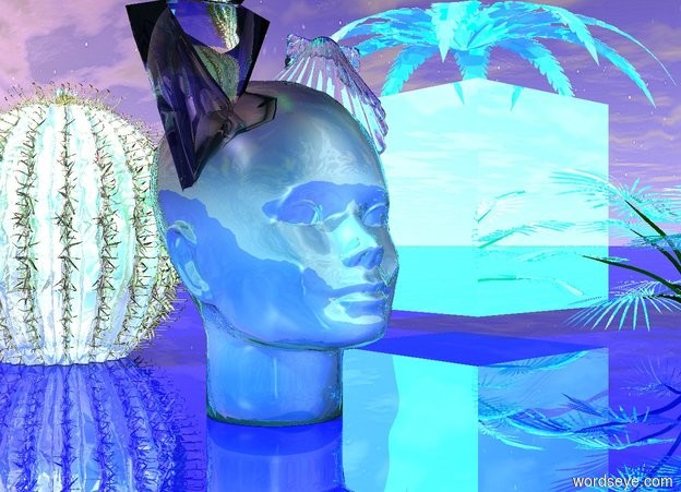 Input text: there is a shiny pattern head. the glass shells fit inside the head. the ground is shiny blue. the sky texture is reflective cyan. a reflective cyan fern is above the sky texture. a small reflective cyan barrel cactus is 5 inches behind the head. another miniature reflective cyan plant is in front of the sky texture. the green light is 1 inch above the head. the red light is 1 inch above the barrel cactus. the purple light is 1 inch above the plant.
