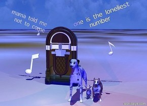 "3 dogs are -0.05 feet above the ground. the ground is unreflective [mud]. the camera light is gray. the sun is sky blue. the ambient light is blue. the sun's azimuth is 165 degrees. the sun's altitude is 80 degrees. a transparent jukebox is behind and left of the dogs. a tiny white ""one is the loneliest""  is -0.6 feet right of and above the jukebox. it leans right. a tiny white ""number"" is -0.8 feet below the ""one is the loneliest"". it leans right. a tiny ""mama told me"" is left of and above the jukebox.it leans left. a tiny ""not to come"" is -0.8 feet below the ""mama told me"". it leans left. a dim beige light is 3 inches in front of the dogs. 1st small white eighth note is above and right of the dogs.it leans right. 2nd white eighth note is 1 feet left of the jukebox and 0.5 feet above the ground. it leans back. 3rd small white eighth note is 1.5 feet above and 0.9 feet behind the 2nd eighth note. it leans right. a dim orange light is 3 feet in front of the jukebox. a dim rust light is 3 inches above and right of the dogs. a dim cyan light is -2 inches in front of and -3 feet above the jukebox."