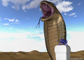 The  giant blue chameleon is on a small pillar in front of a giant cobra