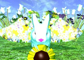 The ground is grass. A rabbit facing west. 6 big cyclamens. 6 big cyclamens in front of the cyclamens. A huge butterfly facing the rabbit. The butterfly is facing up. the cyclamens are magenta. The ambient light is turquoise. The butterfly is [flower]. A tiny flower is -14 inches to the right of the rabbit. The flower is 12 inches inside the ground. The flower is facing west.