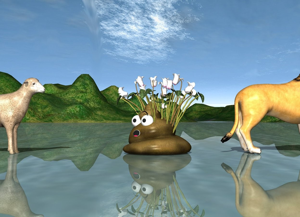 Input text: The lion is 8 feet in front of the sheep. The huge poop is 3 feet in front of the sheep. it is facing northwest. the huge flower is 1.5 foot in the poop.