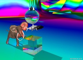 3 penguins are inside the  sphere. Sphere is enormous. Sphere is made of glass. sphere is in the air.  It is morning. Big elephant faces the sphere. 3 fish flying. Fish are under the sphere.  Fish are big. The transparent cube is on the ground. The cube is under sphere. The cube is ten feet tall. Red light is on the cube. The green light is on the sphere. The ground is rainbow. Blue light is under the elephant.