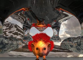 the transparent hedgehog is 150 feet tall. it is leaning 11 degrees to the back. the 100 feet tall red hedgehog is  60 feet in front of the transparent hedgehog. it is facing the transparent hedgehog. the big orange light is right of the transparent hedgehog. the big purple light is left of the transparent hedgehog. the big red light is under the transparent hedgehog. the camera light is green.