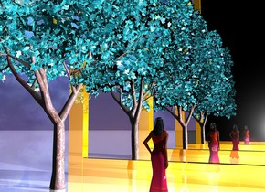 the woman. the 1st gigantic gold mirror is 8 foot behind the woman. the 2nd gigantic gold mirror is 8 foot in front of the woman. it is morning. the ground is reflective. the white light is in front of the woman. the small summer rain blue reflective tree is west of the woman. the fuschia light is behind the woman.