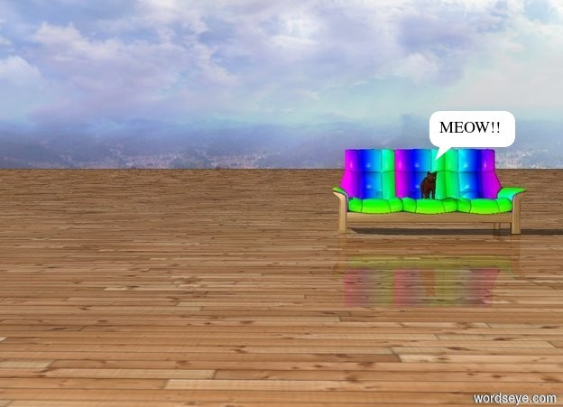 Input text: The cat is on a couch. The couch is Rainbow. There is a wood ground.